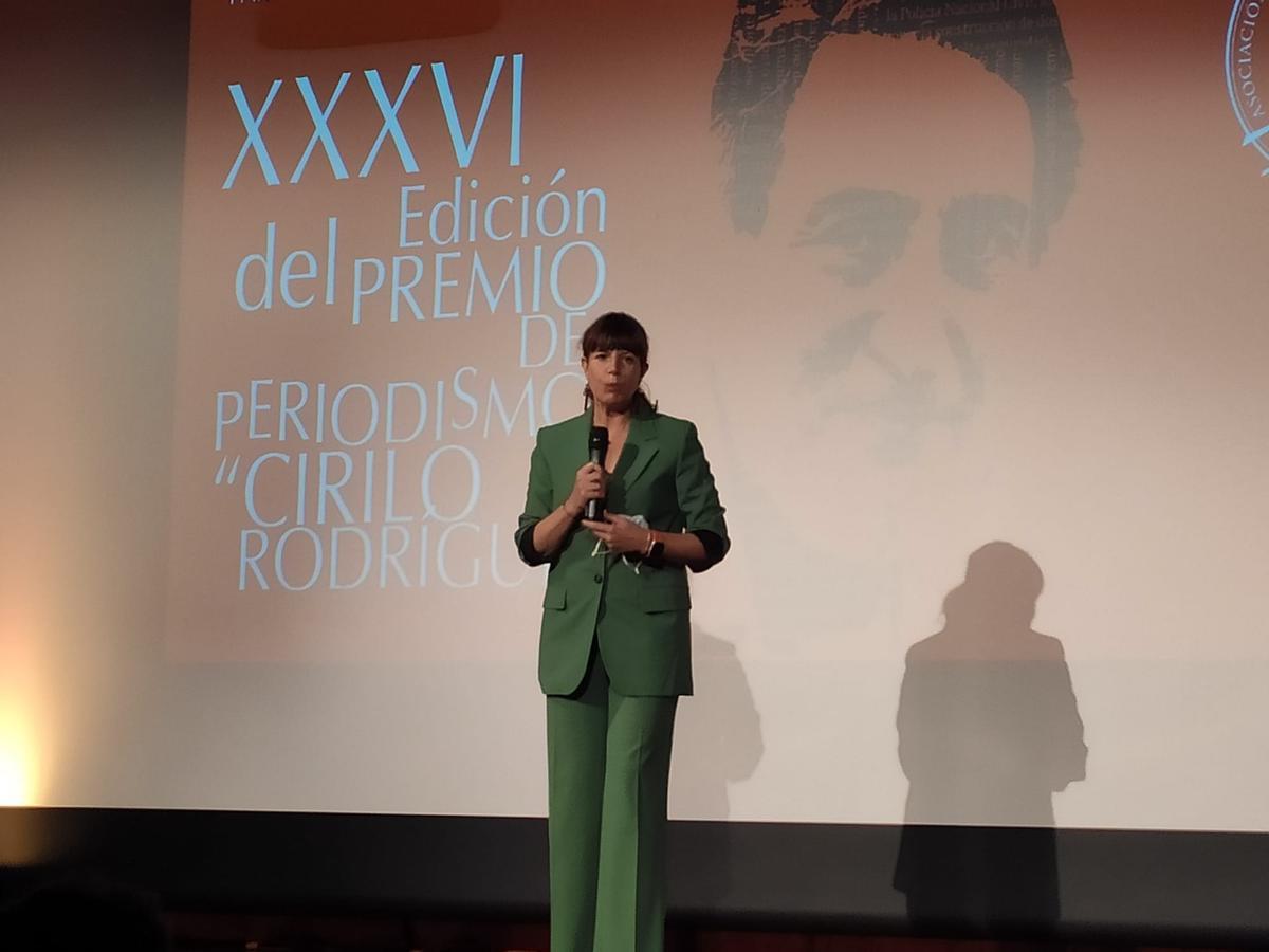 La periodista Mavi Doñate, en los premios Cirilo.