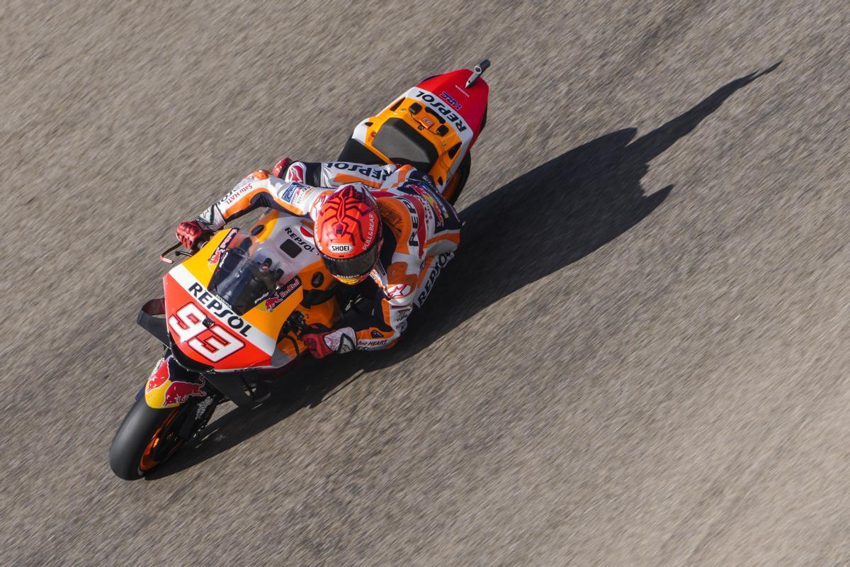 Marc Márquez (Honda), en el primer entrenamiento de hoy en el GP de Aragón.