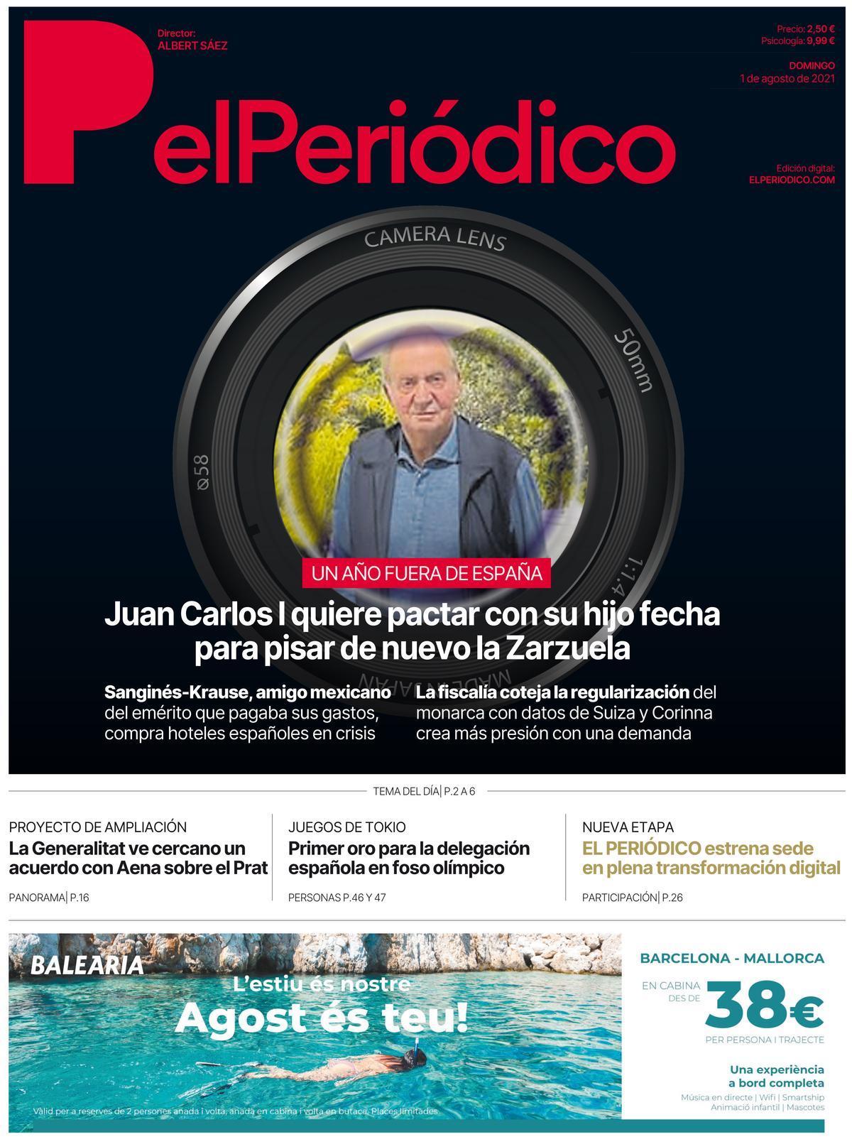 La portada de EL PERIÓDICO del 1 de agosto de 2021.