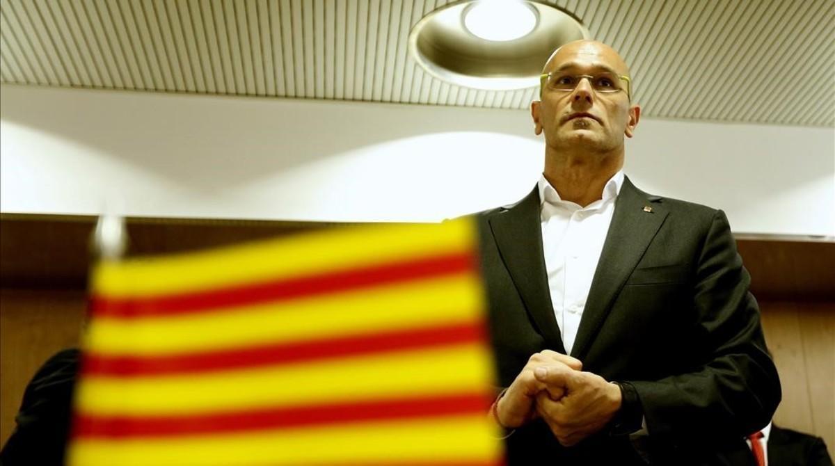 El 'exconseller' de Exteriors, Raül Romeva, en una reunión en Madriden abril pasado.