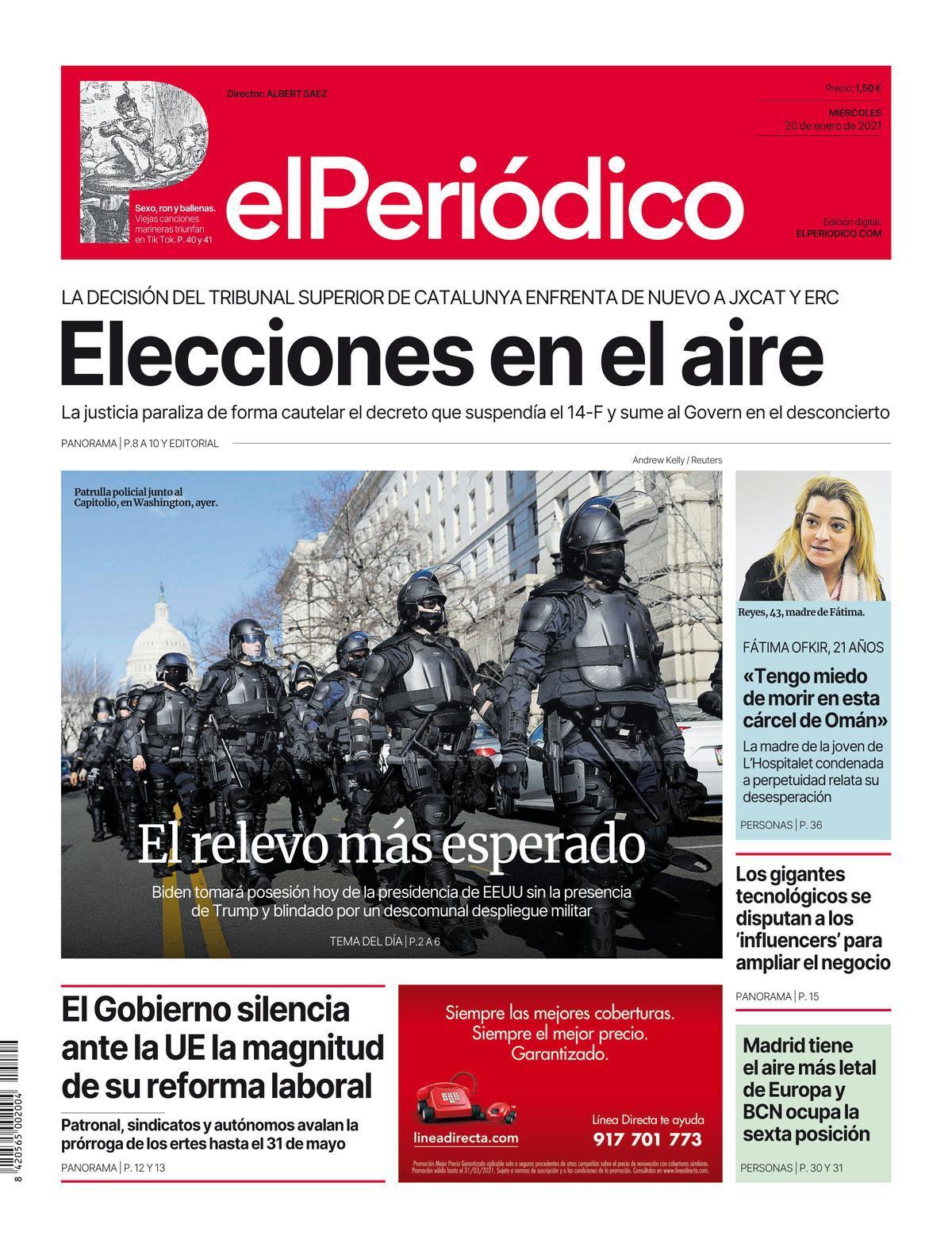 La portada de EL PERIÓDICO del 20 de enero de 2021