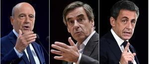Los tres grandes favoritos en las primarias de la derecha francesa:Juppé (derecha), Fillon (centro) y Sarkozy.