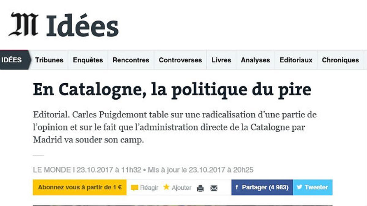 Captura del editorial de 'Le Monde' sobre Catalunya de este 23 de octubre.