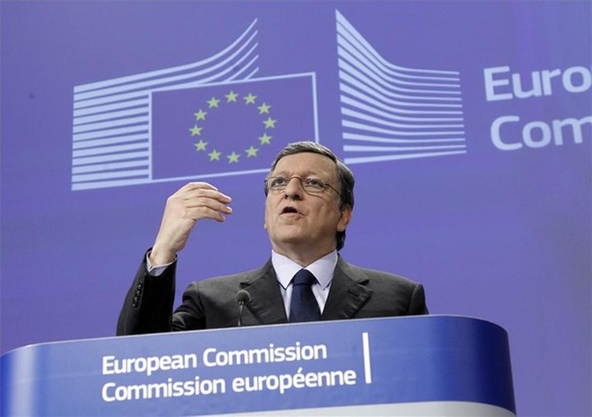 Durao Barroso, durante la conferencia de prensa en Bruselas este miércoles.