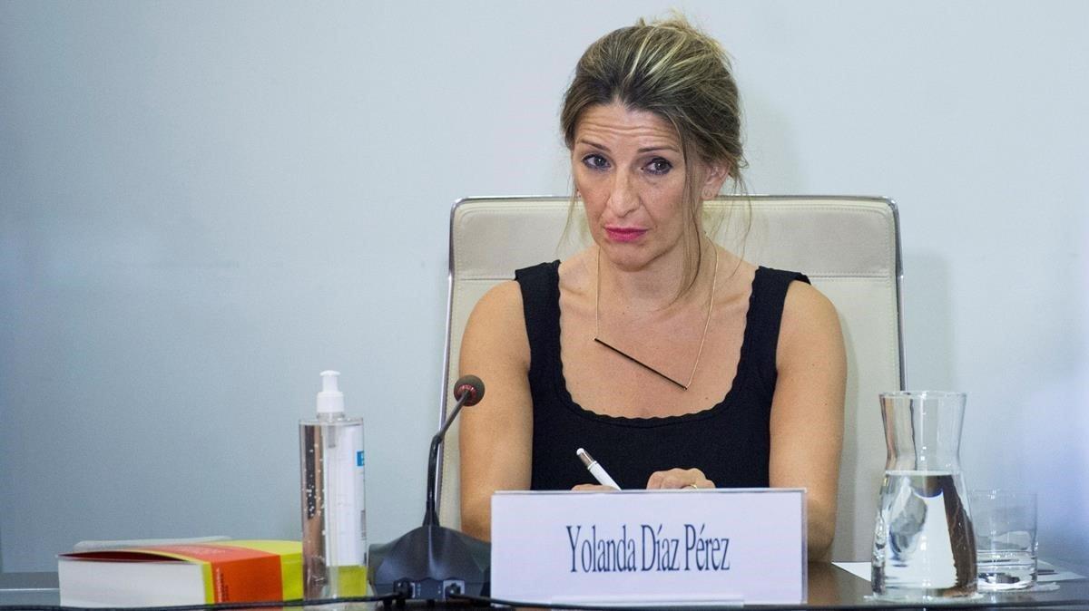 La ministra de Trabajo y EconomíaSocial Yolanda Díaz clausura este jueves la presentación de la Memoria sobre la situación socioeconómica y laboral de Espana 2019, en Madrid.