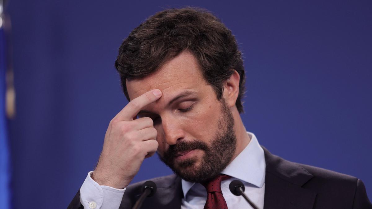 Pablo Casado en una reciente conferencia de prensa.