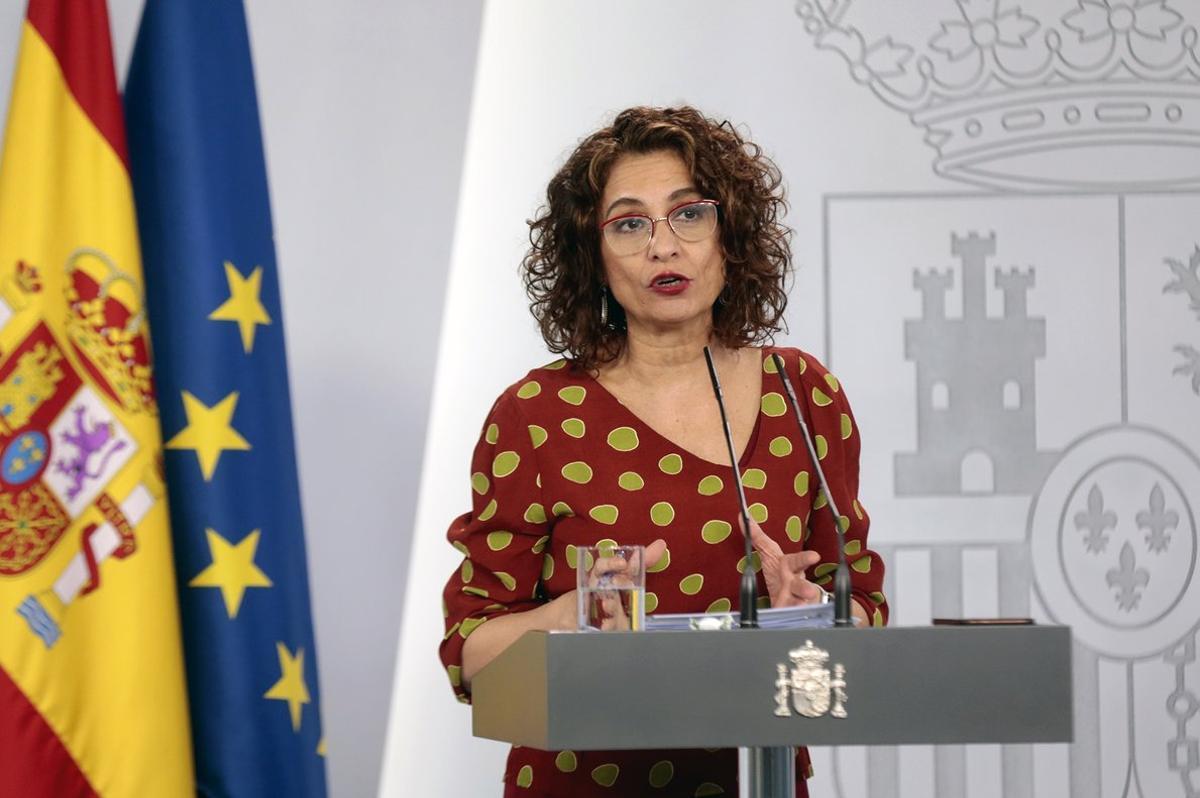 La ministra de Hacienda y portavoz del Gobierno, María Jesús Montero, en una rueda de prensa posterior al Consejo de Ministros