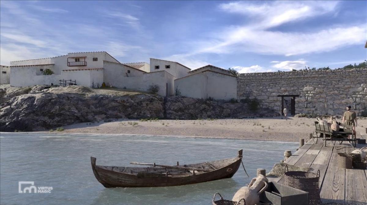 Recreación en 3D sobre el antiguo puerto griego de Empúries en el siglo II antes de Cristo.