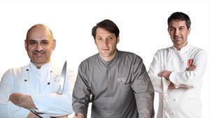 Jordi Artal (Cinc Sentits), Albert Sastregener (Bo.TiC) y Javier Olleros (Culler de Pau), chefs que acaban de recibir la segunda estrella Michelin por sus respectivos restaurantes.