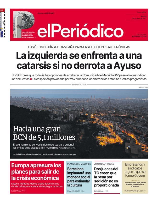 La portada de EL PERIÓDICO del 29 de abril de 2021