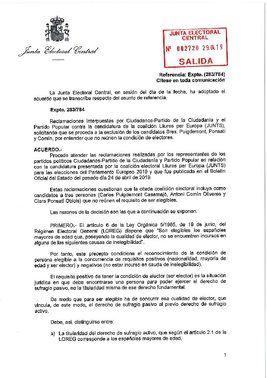 Resolución de la JEC sobre Puigdemont, Comín y Ponsatí