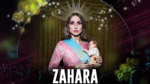 Cartel retirado de la cantante Zahara, caracterizada como una Virgen y con una banda en la que se puede leer Puta, el nombre de su álbum.