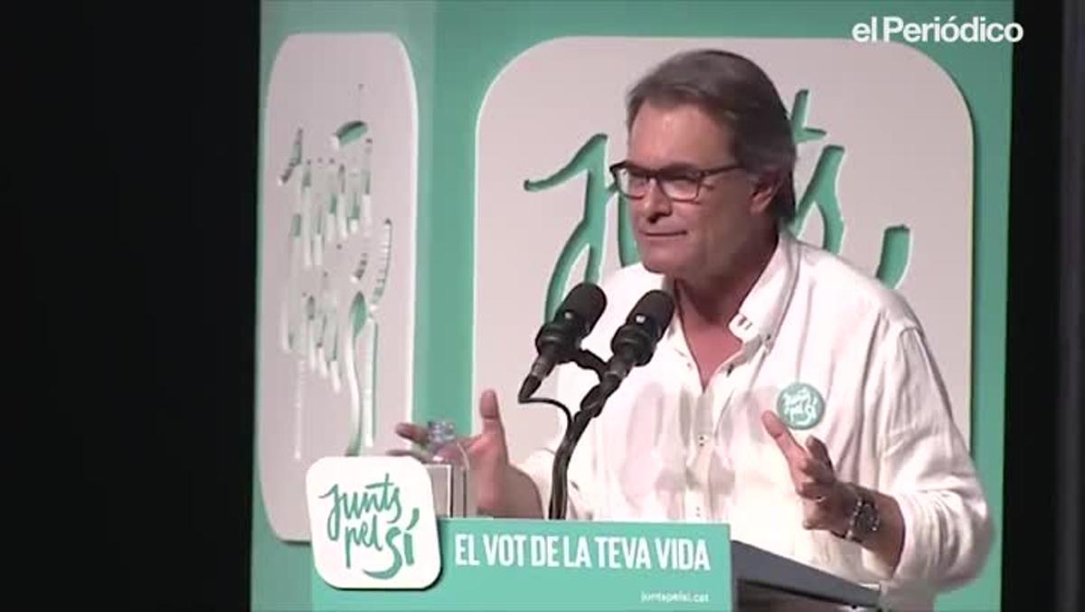 Artur Mas, durante su intervención en un mitin de JxSí, en septiembre del 2015 enL'Hospitalet de Llobregat, durante la campaña del 27-S.