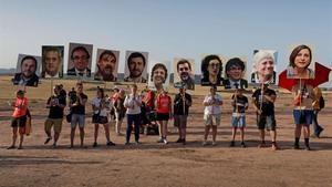 Concentración de apoyo a los políticos presos en la cárcel de Lledoners