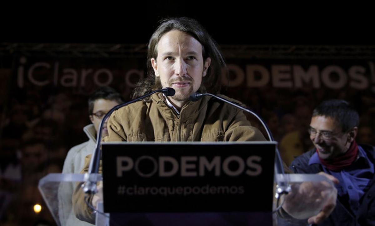 Pablo Iglesias valora los resultados de Podemos, anoche en Madrid.