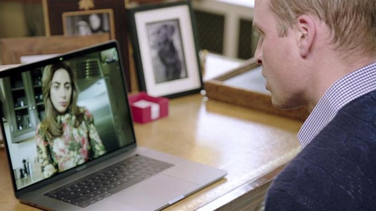 Lady Gaga y el príncipe Guillermo se reúnen por vídeoconferencia para promover la salud mental.