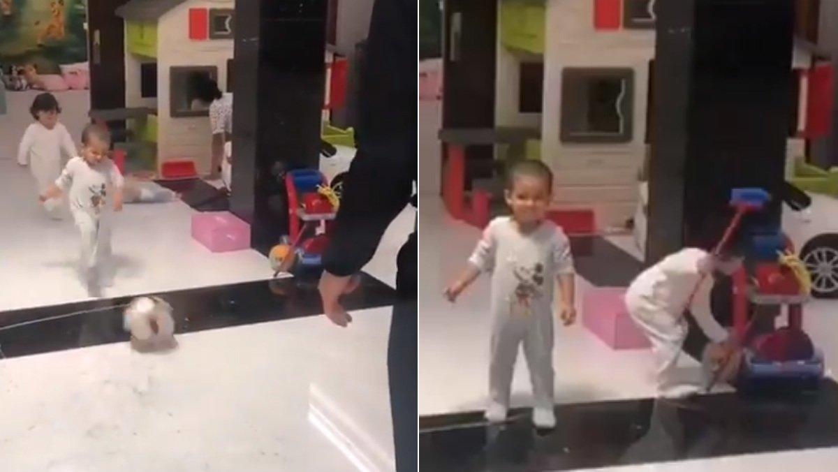 Ronaldo solo le pasa el balón a su hijo hasta que su hija se aburre de esperar.