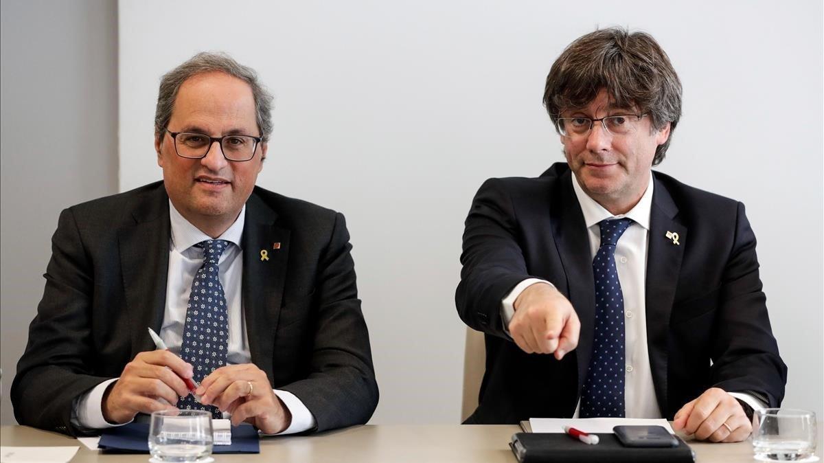 Torra y Puigdemont en Bruselas, en septiembre del 2019.