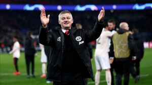 Solskjaer, técnico del United, celebra el triunfo de su equipo ante el PSG en la Champions
