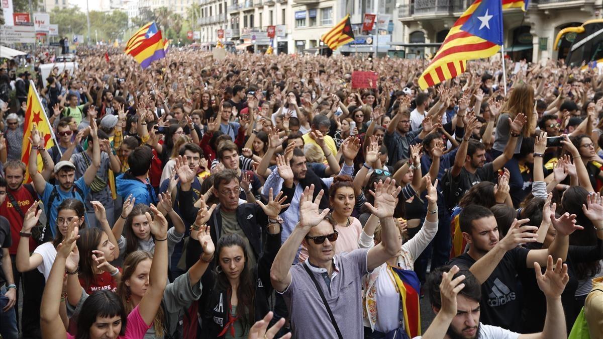Concentración en la plaza de Catalunya, el pasado 2 de octubre.