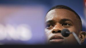 Semedo en la conferencia de prensa que ofreció en el estadio Alvalade de Lisboa.