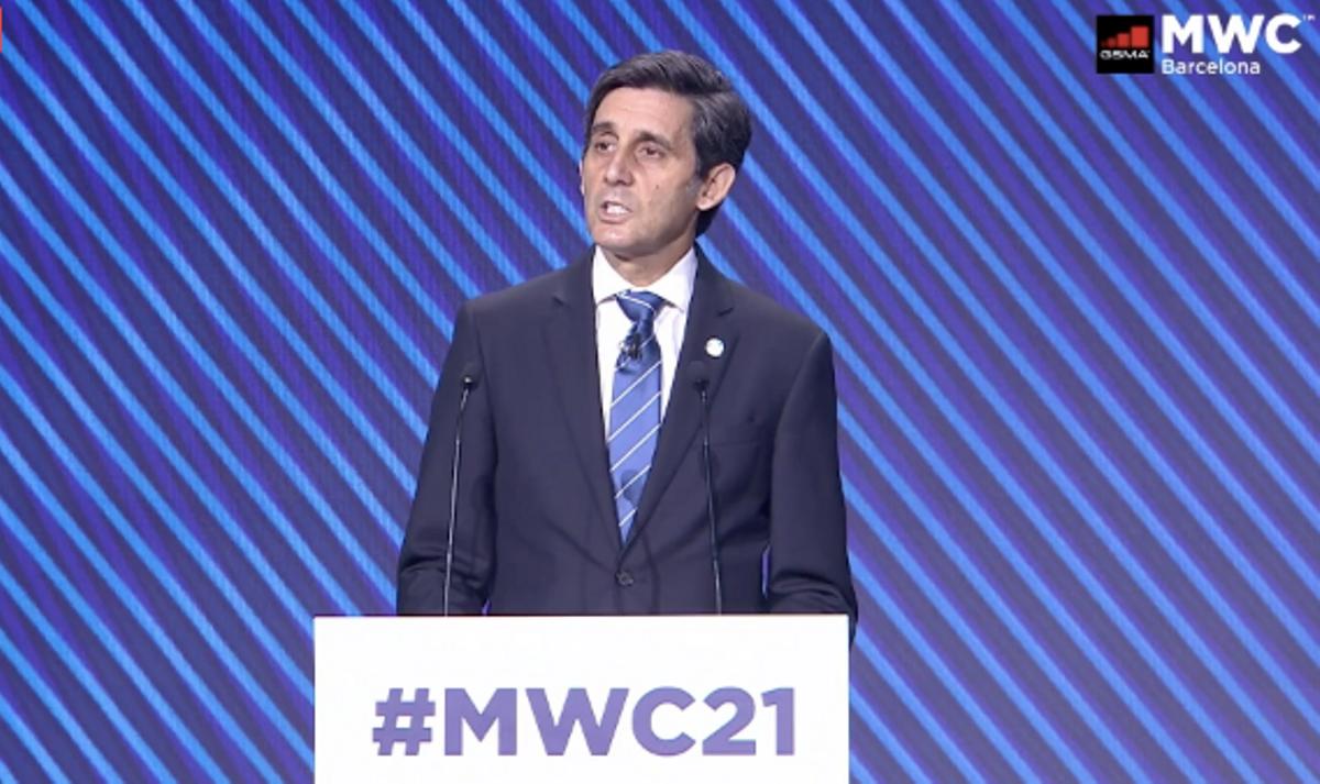 El presidente de Telefónica, José María Álvarez-Pallete, durante su intervención en la primera jornada del Mobile World Congress 2021.