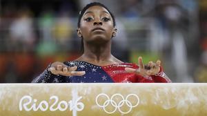 La gimnasta estadounidense, Simone Biles, durante los Juegos Olímpicos de Río 2016.