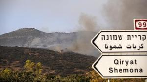 Uno de los incendios del Líbano, cerca de la base de Har Dov, en la frontera israelí.