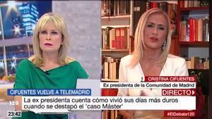 """Cristina Cifuentes hace balance del 'caso máster' en su regreso a Telemadrid: """"Voy a salir completamente libre"""""""