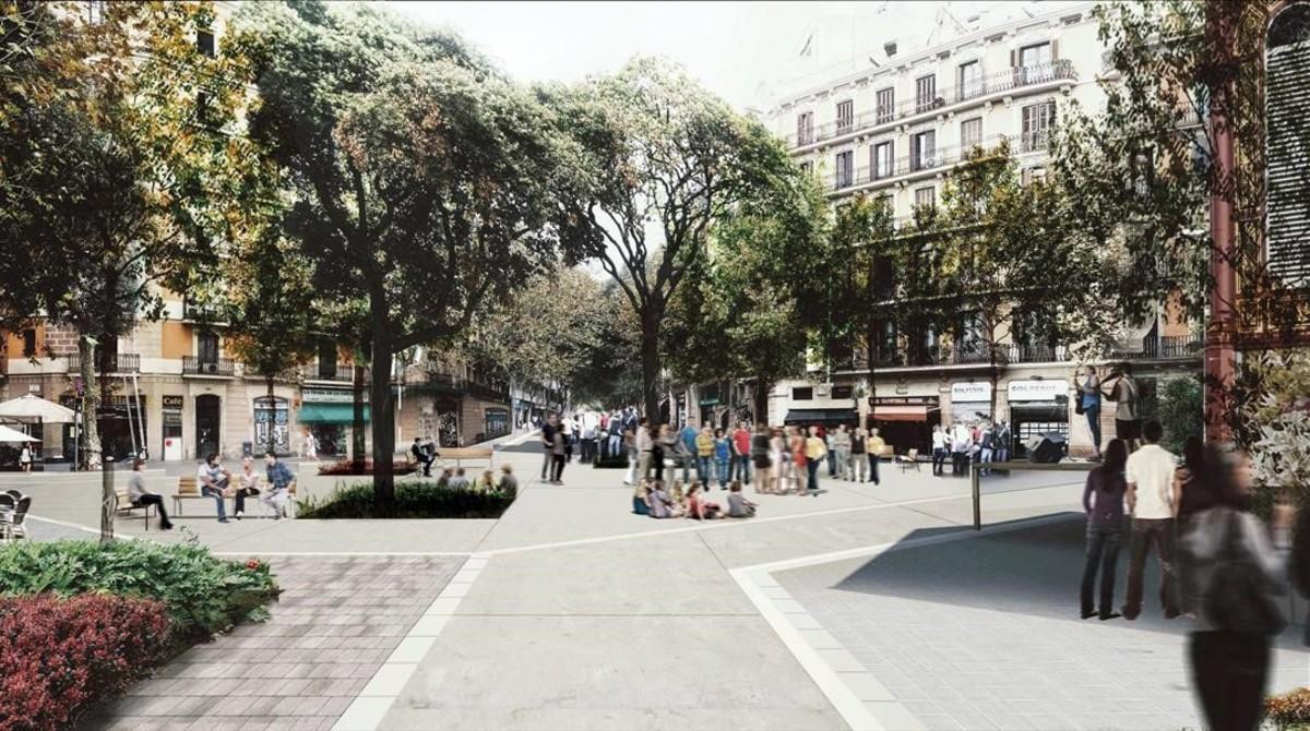 Imagen virtual del nuevo espacio pacificado en el entorno del mercado, en Tamarit Borrell.