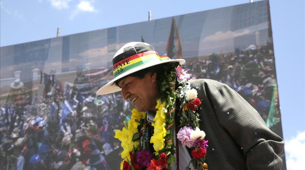 El presidente de Bolivia, Evo Morales, durante la inaugiración del museo que ensalza su figura en Orinoca (Bolivia).