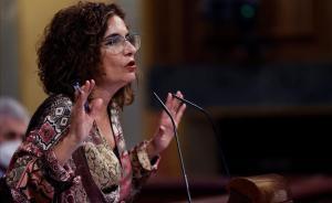 La ministra de Hacienda, María Jesús Montero, en el debate sobre la totalidad del proyecto de Presupuestos del Estado para el 2021.