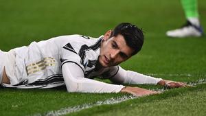 Álvaro Morata durante el empate de la Juventus ante la Atalanta