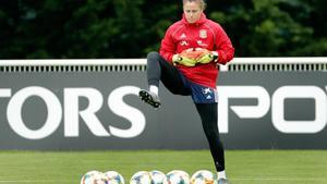 Sandra Paños, durante el entrenamiento del jueves, en Reims.