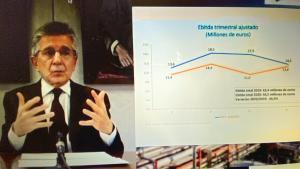 El presidente de Ercros, Antoni Zabalza, durante la presentación por videoconferencia de los resultados del 2020.