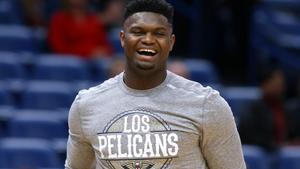 Zion Williamson, la estrella del New Orleans Pelicans, antes del partido ante Miami Heat el 6 de marzo en la cancha de Nueva Orleans.