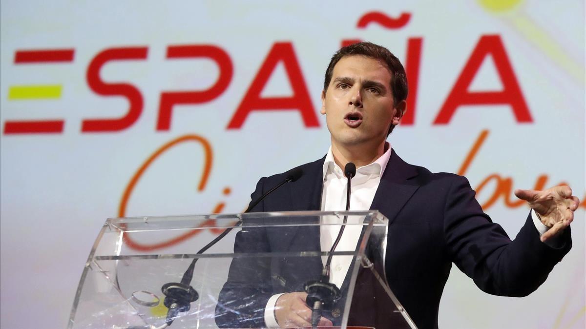 El líder de Ciudadanos, Albert Rivera, durante la presentación de la plataforma 'ESPAÑA Ciudadana'.