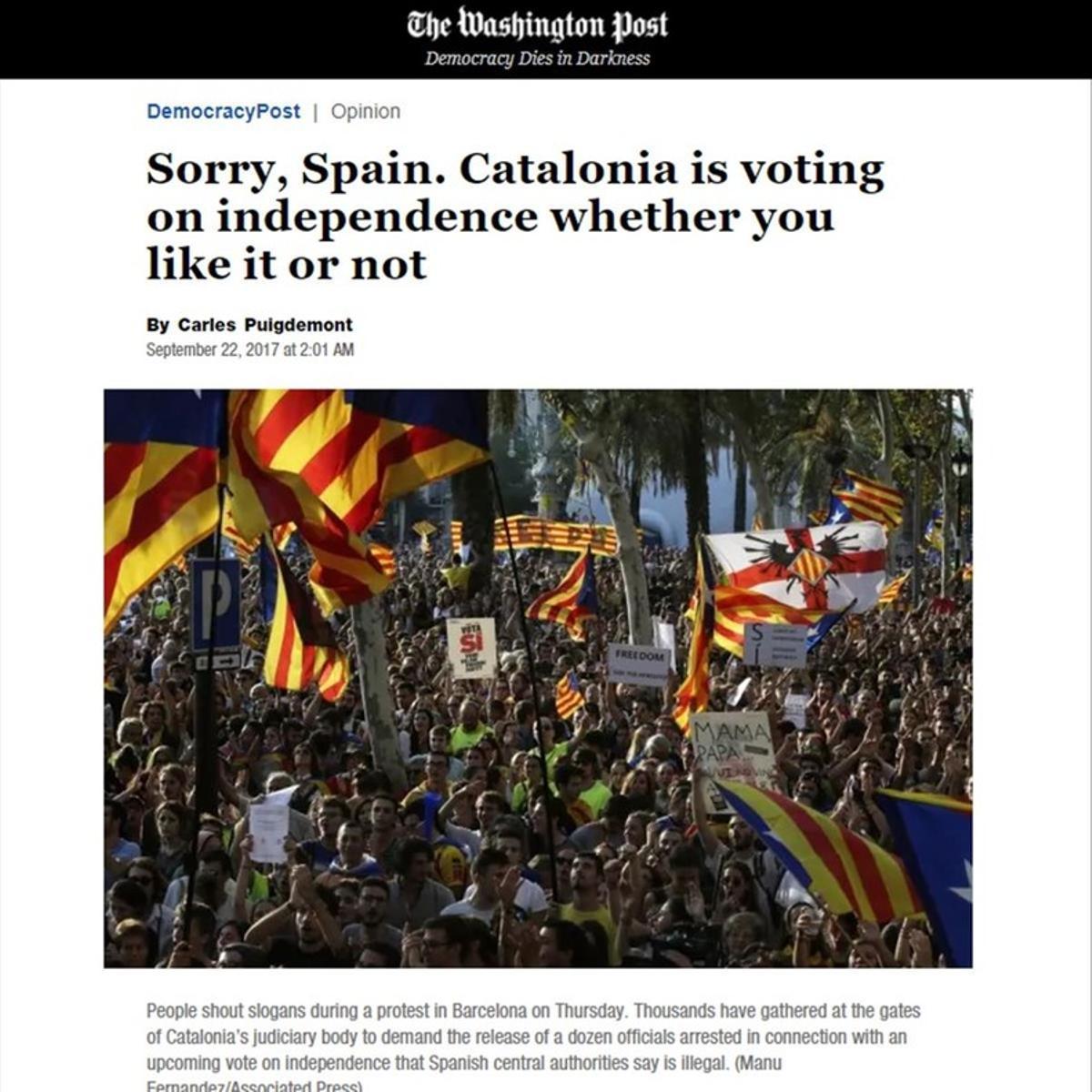 Captura del artículo de Carles Puigdemont en 'The Washington Post'.