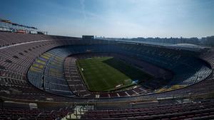 Una imagen del Camp Nou vacio.