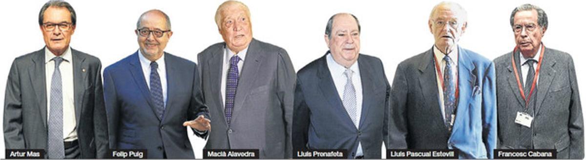 D'esquerra a dreta, Artur Mas, Felip Puig, Macià Alavedra, Lluís Prenafeta, Lluís Pascual Estivill i Francesc Cabana.