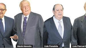 De izquierda a derecha, Artur Mas, Felip Puig, Macià Alavedra, Lluís Prenafeta, Lluís Pascual Estivill y Francesc Cabana.