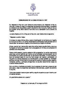 Carta de retirada de Juan Carlos I.