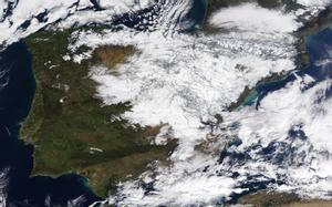 Imagen de satélite de la península Ibérica tras el paso de 'Filomena'.