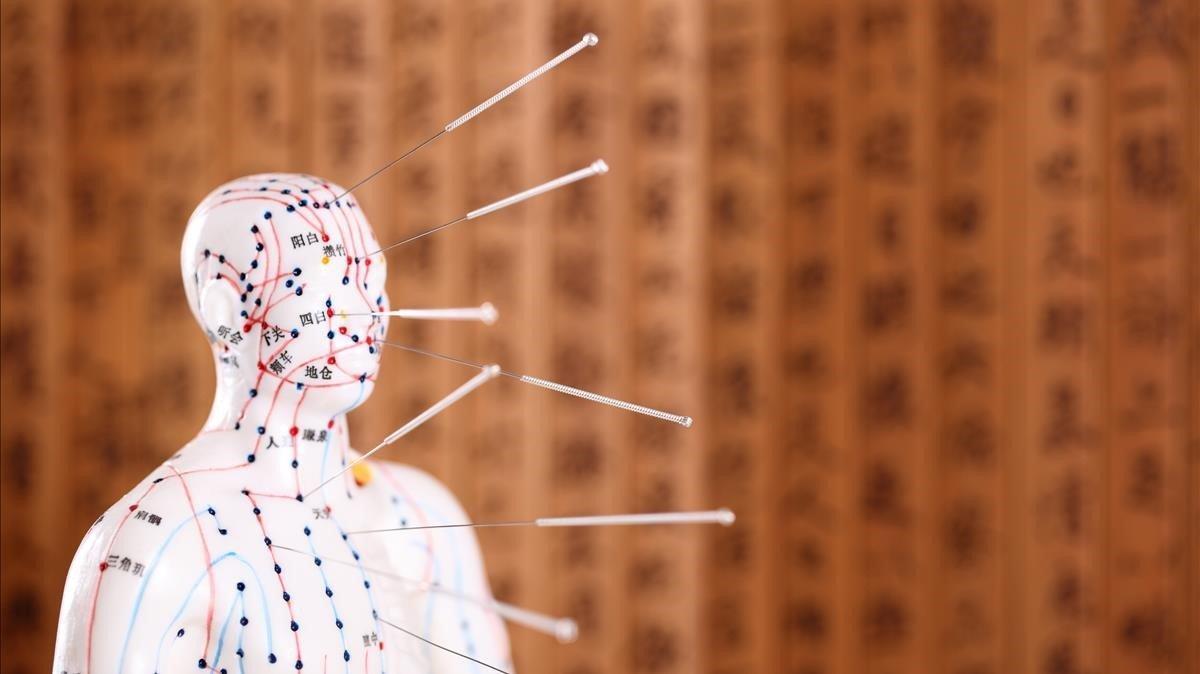 Modelo del cuerpohumano sobre el que se sitúan los puntos de presión de la acupuntura, en una imagen de archivo