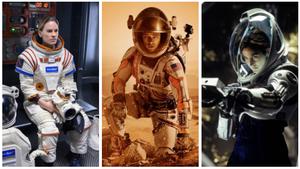 Fotogramas de la serie 'Away' y de las películas 'Marte (The martian)' y 'Planeta rojo'.