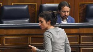 Pablo Iglesias e Irene Montero, en el Congreso
