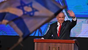 Netanyahu el pasado mes de marzo en un acto de campaña electoral.