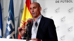 Luis Rubiales ofreció el lunes las últimas medidas de la Federación ante la crisis sanitaria y económica producida por el coronavirus.