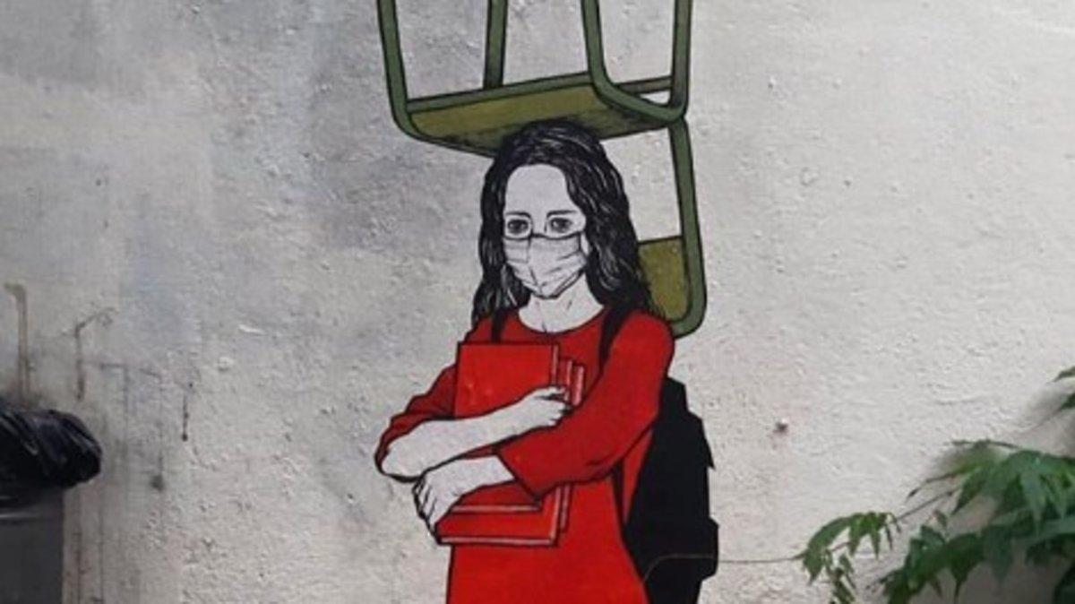 Uno de los graffitis del 'Primo de Banksy'.