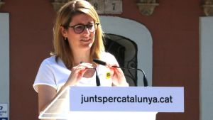 Elsa Artadi, en un mitin de JxCat en el barrio de Gràcia de Barcelona